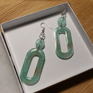 2 for $12 - Oval 2 Tiered Aqua Resin Earrings